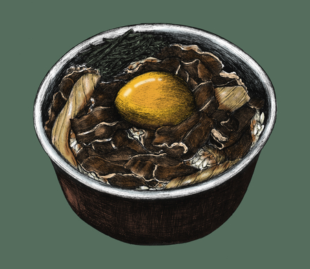 Hand drawn gyudon Japanese beef bowl Stock fotó