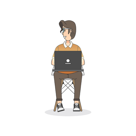 Illustration of a man sitting on a chair