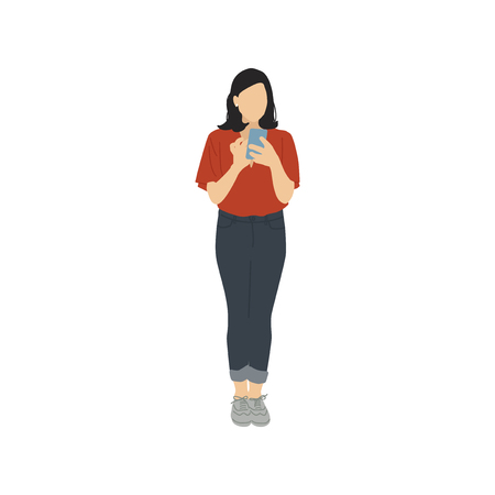 Illustrated woman using mobile phone 스톡 콘텐츠