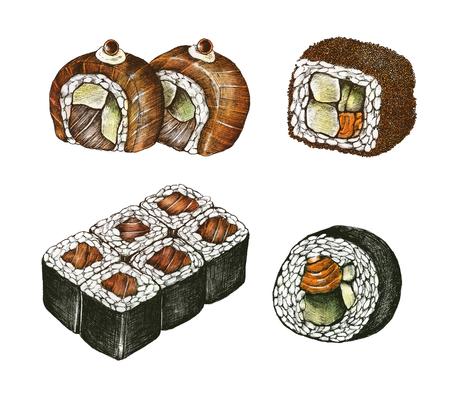 Hand drawn sushi Japanese food Stok Fotoğraf
