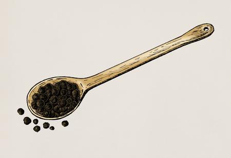 Hand drawn black peppercorn