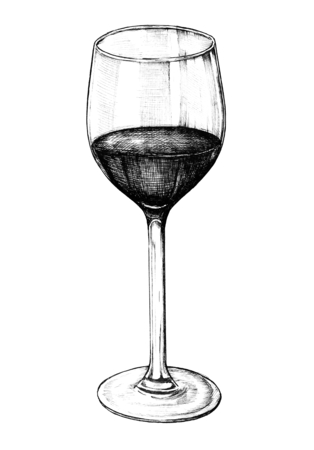 Hand drawn red wine glass Фото со стока - 108381378