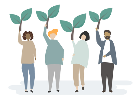 People holding plant with ecology concept