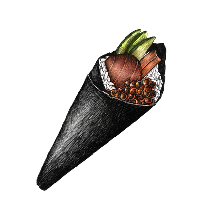 Hand drawn temaki cone-shaped sushi