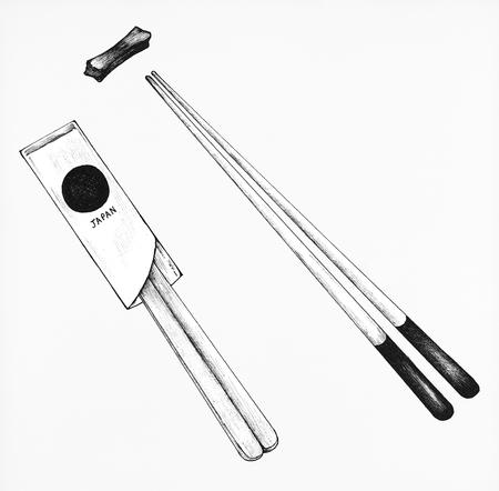Hand drawn pairs of chopsticks
