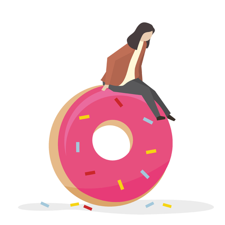 Woman with a donut 写真素材