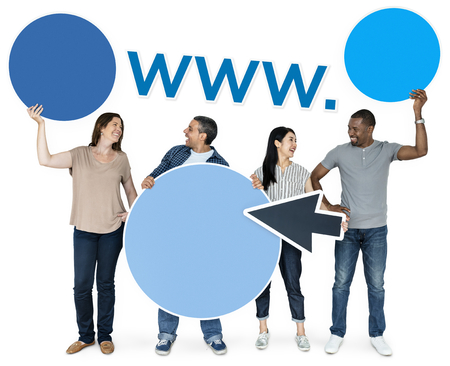 Happy diverse people holding internet icons Stock fotó