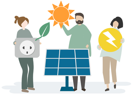 People with renewable energy concept