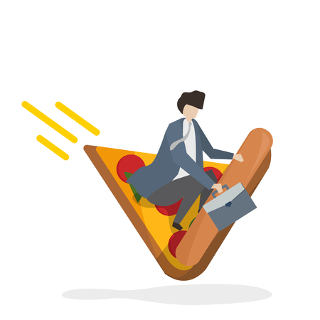 Businessman riding on a slice of pizza