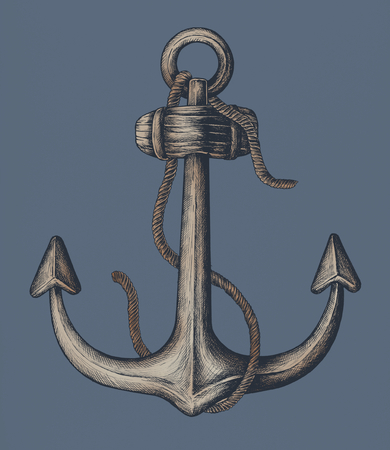 Hand drawn metal shank anchor Stockfoto