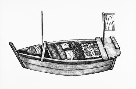 Hand drawn sushi boat