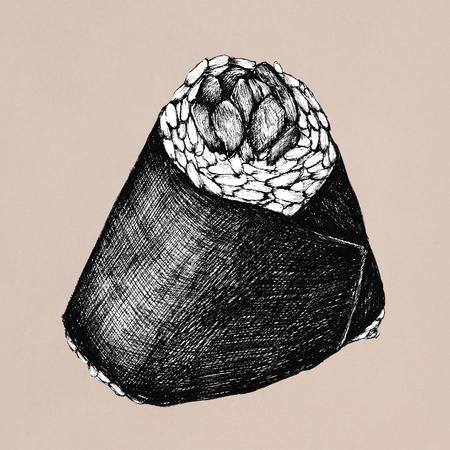 Hand drawn onigiri Japanese food