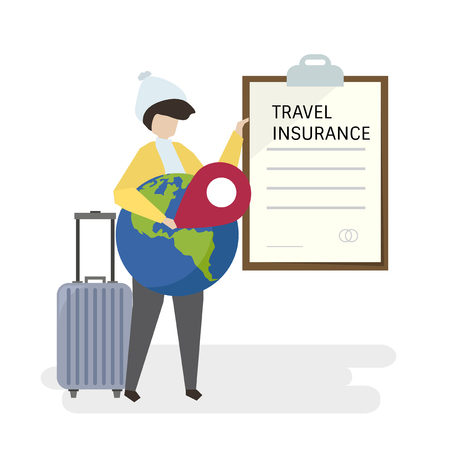 Illustration of people with travel insurance Standard-Bild - 108380539