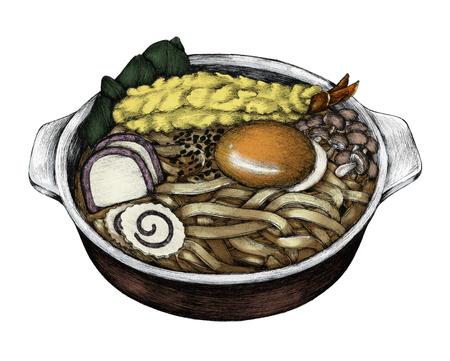 Hand drawn udon Japanese cuisine
