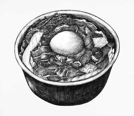 Hand drawn gyudon Japanese beef bowl Stock Photo