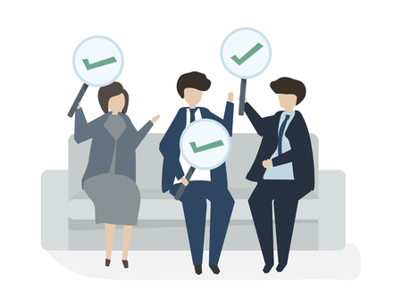Illustration of people avatar business agreement concept