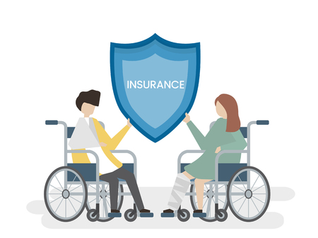 Illustration of people with health insurance service Stockfoto - 108372190