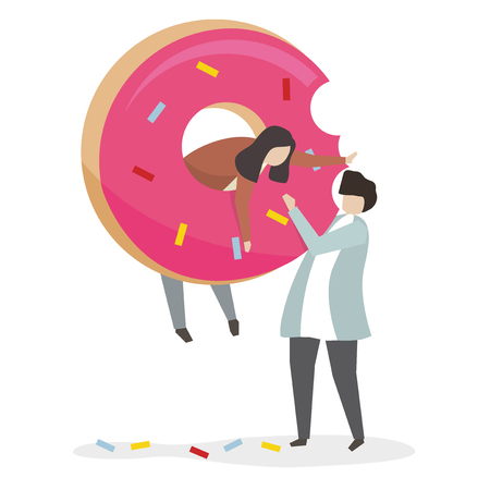People and donut with unhealthy eating concept Reklamní fotografie