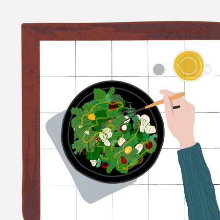 Person eating a healthy salad Imagens - 108376077