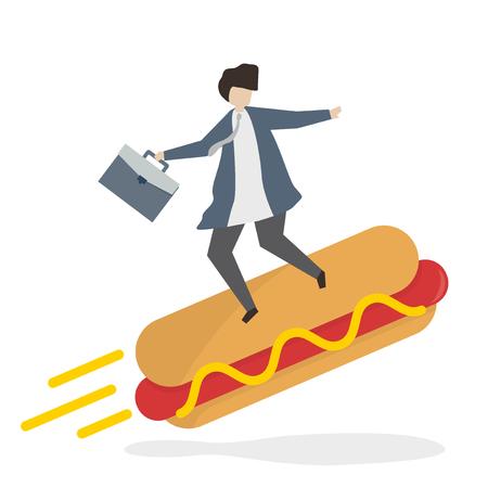 Businessman on a hotdog Banco de Imagens