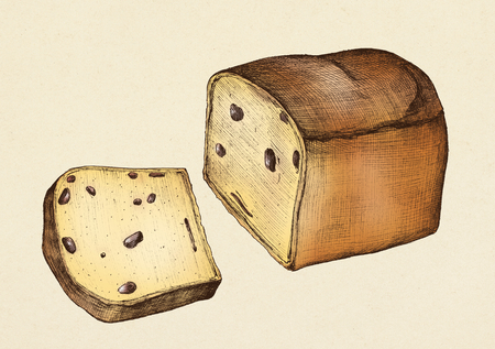 Hand drawn loaf of fruitcake
