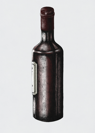 Hand drawn wine bottle isolated Фото со стока