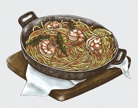 Hand-drawn spaghetti marinara dish