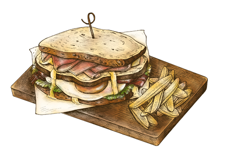 Hand-drawn club sandwich with fries