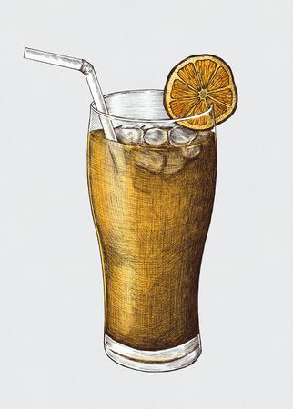 Hand-drawn lemon iced tea Stock Photo