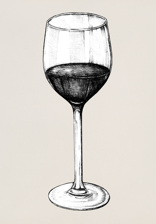 Hand drawn red wine glass Фото со стока - 109219477