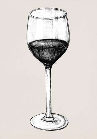 Hand drawn red wine glass