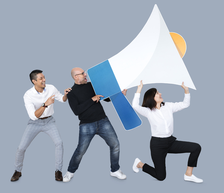 Diverse people screaming into a megaphone