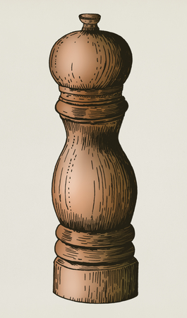 Hand drawn pepper mill Stok Fotoğraf