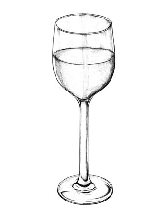 Hand drawn white wine glass Banco de Imagens