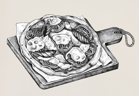 Hand-drawn stone-oven pizza