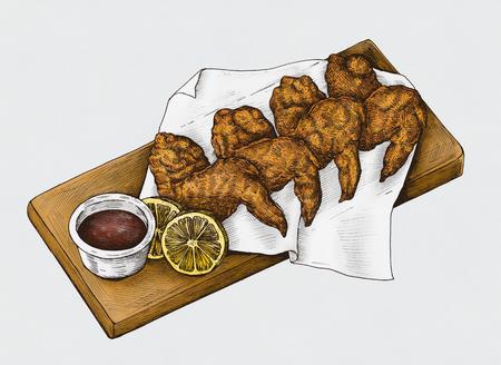 Ailes de poulet dessinées à la main