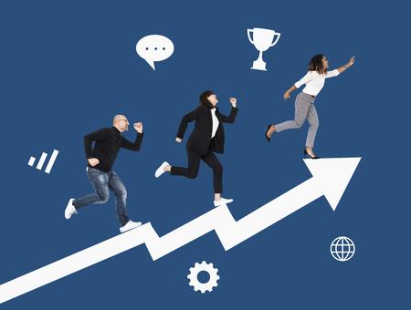 Business people rushing towards success Stock Photo