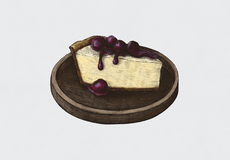 Hand-drawn cheesecake sweet dessert