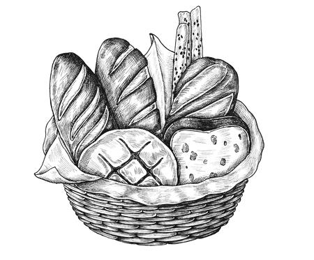 Hand-drawn bread basket isolated Reklamní fotografie