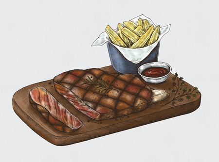 Illustration of steak on platter with fries and dip Stock Illustration - 116144657