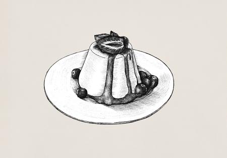 Hand-drawn pudding a savory dish