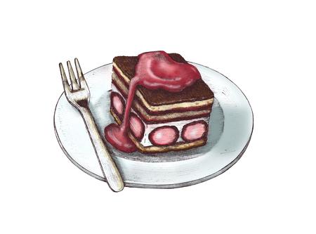 Hand drawn strawberry shortcake isolated