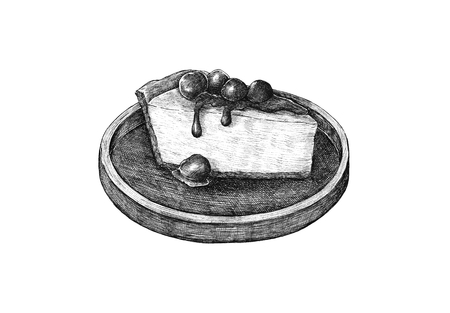 Drawing of cheesecake on a plate