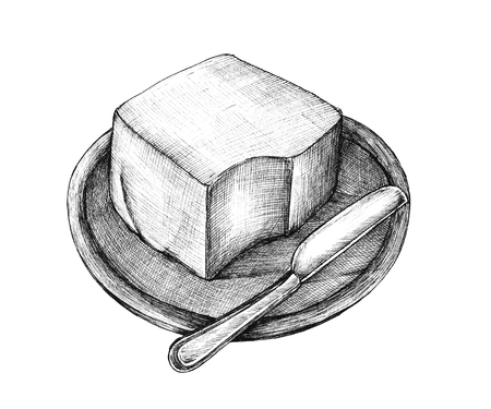 Hand-drawn butter isolated