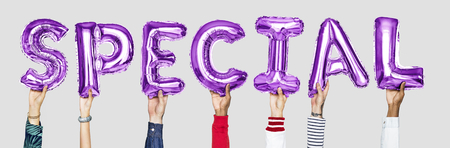 Purple alphabet balloons forming the word special
