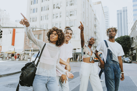 Friends hanging out in downtown LA Stock Photo - 109291315