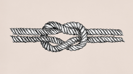 Hand drawn square knot 免版税图像