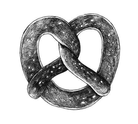 Hand-drawn twisted knot pretzel