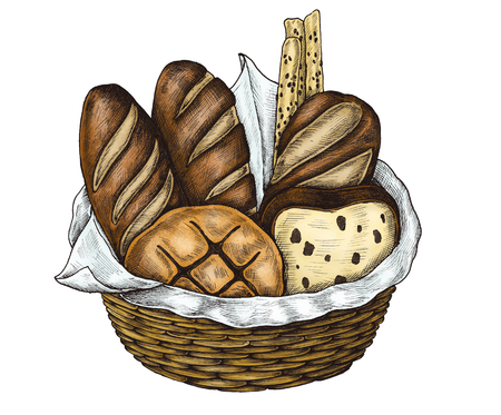 Hand-drawn bread basket isolated Banco de Imagens