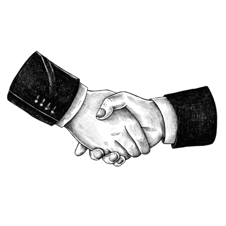 Hand drawn shaking hands together